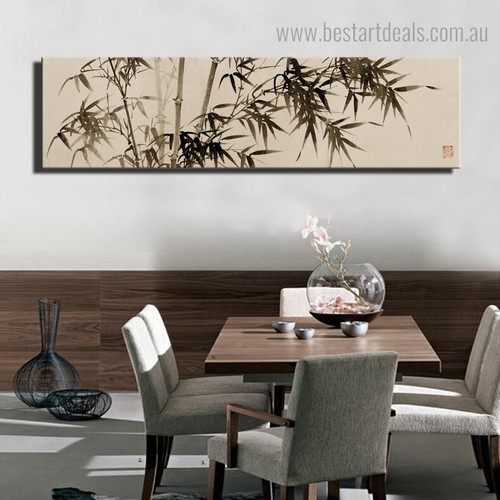 Bamboo Botanical Panoramic Framed Painting Picture Canvas Print for Room Wall Decoration