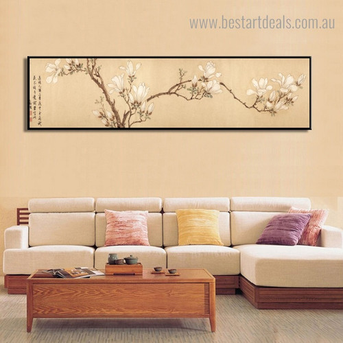 Magnolia Floral Panoramic Framed Painting Pic Canvas Print for Room Wall Finery