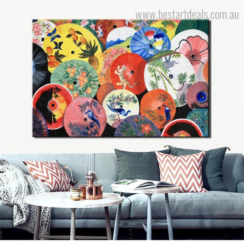 Colorful Umbrellas Abstract Modern Framed Painting Photo Canvas Print for Room Wall Decoration
