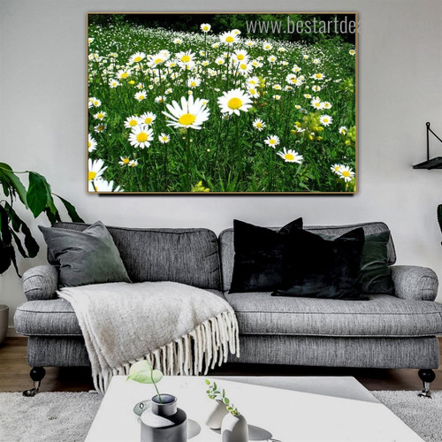 White Sunflower Floral Contemporary Framed Painting Photo Canvas Print for Room Wall Adornment