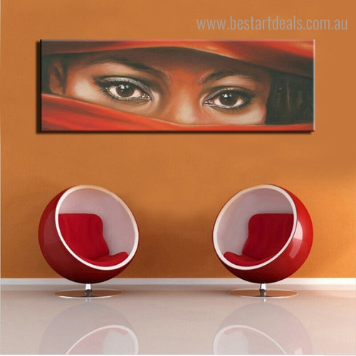 Charming Eyes Abstract Modern Panoramic Framed Portraiture Picture Canvas Print for Room Wall Garniture