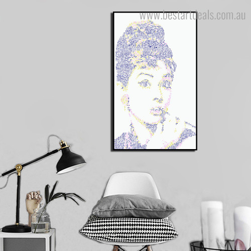 Audrey Hepburn Abstract Hollywood Modern Framed Painting Image Canvas Print for Room Wall Drape
