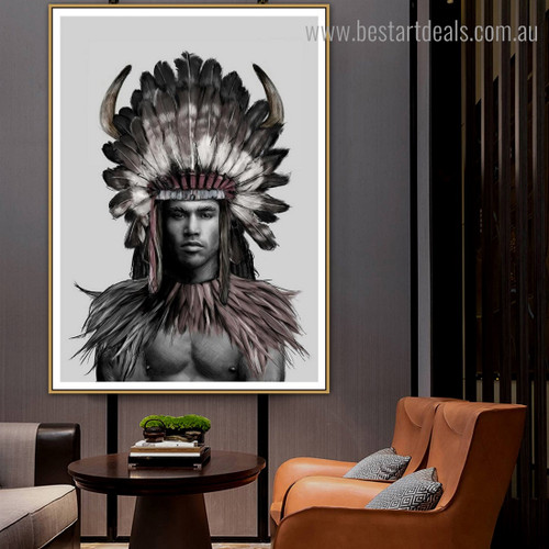 Tribal Man Abstract Figure Contemporary Framed Artwork Photo Canvas Print for Wall Hanging Decor