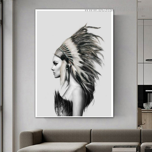 Tribal Lady Abstract Figure Contemporary Framed Painting Pic Canvas Print for Room Wall Ornament