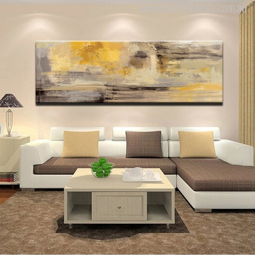 Abstract Golden Painting Canvas Print for Living Room Wall Art