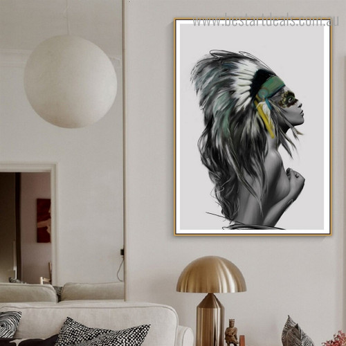 Naked Tribal Girl Abstract Figure Contemporary Framed Artwork Picture Canvas Print for Room Wall Disposition