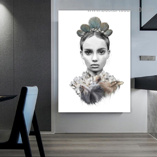 Tribal Wench Face Abstract Figure Contemporary Framed Artwork Photo Canvas Print for Room Wall Getup