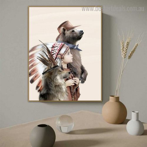 Tribal Baby Abstract Animal Figure Contemporary Framed Portraiture Image Canvas Print for Wall Hanging Decor