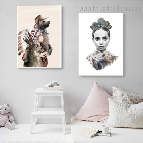 Tribals Abstract Animal Figure Contemporary Framed Painting Picture Canvas Print for Wall Decoration