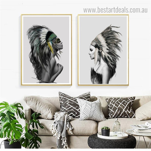 Tribal Women Abstract Figure Contemporary Framed Painting Picture Canvas Print for Wall Decoration