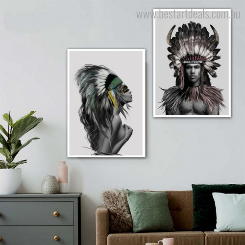 Tribal Humans Abstract Figure Contemporary Framed Portrayal Pic Canvas Print for Room Wall Molding