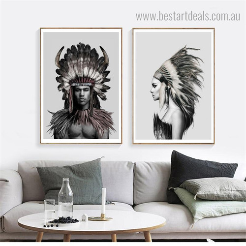 Tribal Peoples Abstract Figure Contemporary Framed Portrayal Photo Canvas Print for Room Wall Getup
