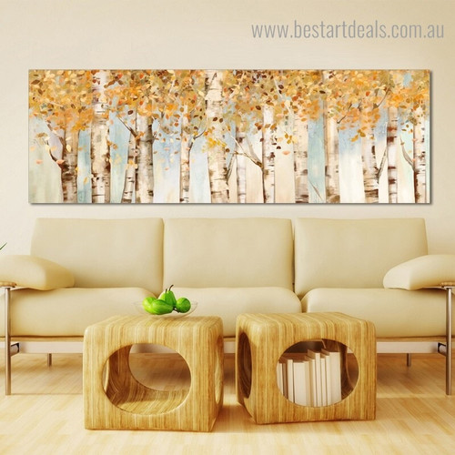 Birch Country Allison Pearce Abstract Modern Panoramic Framed Painting Photo Canvas Print for Room Wall Ornament