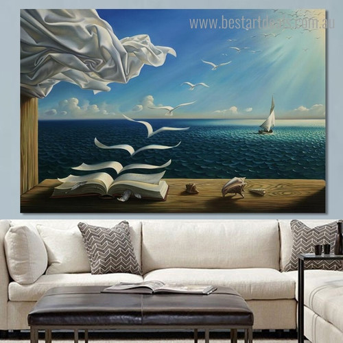 Flying Geeses Abstract Seascape Framed Painting Image Canvas Print for Room Wall Outfit