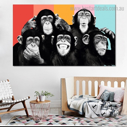 Cute Orangutans Animal Modern Framed Artwork Portrait Canvas Print for Room Wall Ornament