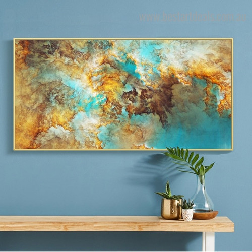 Golden Cyan Abstract Modern Framed Painting Picture Canvas Print for Room Wall Ornament