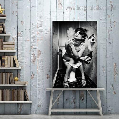 Girl Sits in a Toilet Nude Modern Framed Artwork Image Canvas Print for Room Wall Adornment