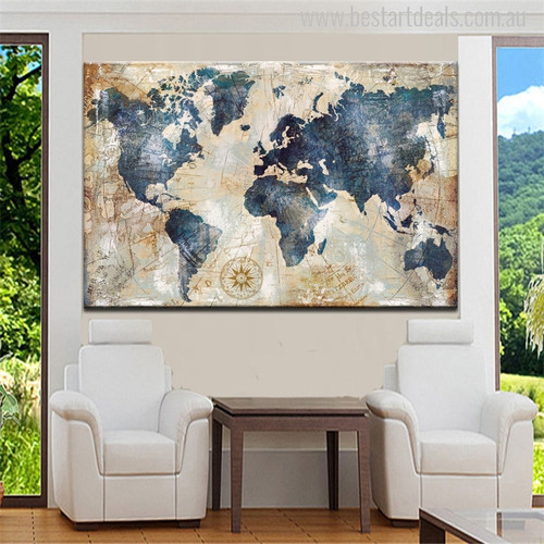 Globe Map Watercolor Painting Print for Foyer Decorating Entryway