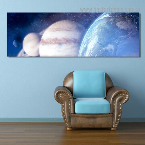 Space Abstract Modern Landscape Panoramic Framed Painting Photo Canvas Print for Room Wall Disposition