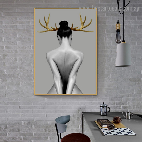 Lady Horn Nude Framed Portrayal Photo Canvas Print for Room Wall  Assortment