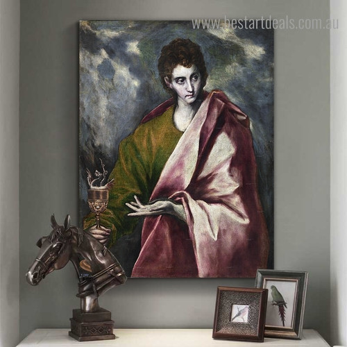 Apostle St John the Evangelist Vintage Framed Painting Pic Canvas Print for Room Wall Garnish