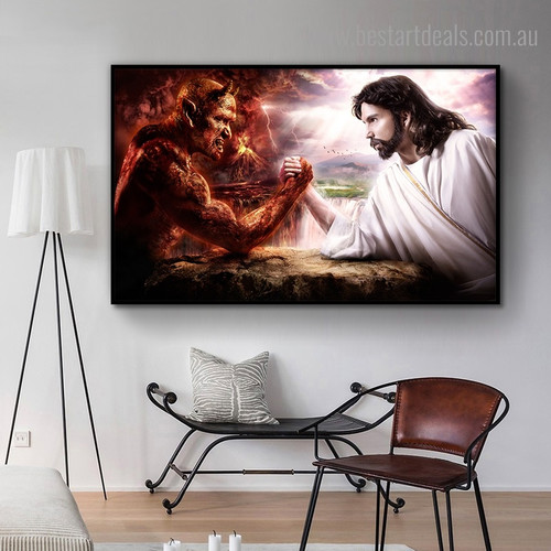 God and Demon Religious Framed Artwork Picture Canvas Print for Room Wall Garnish