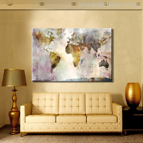 Earth Map Watercolor Painting Canvas Print for Wall Decor