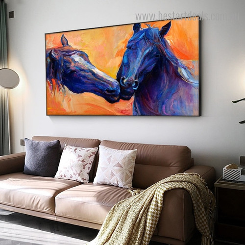 Two Colorful Horses Abstract Animal Framed Portrayal Photo Canvas Print for Room Wall Finery