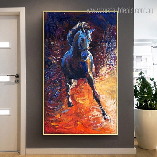 Dapple Equine Abstract Animal Framed Portrayal Image Canvas Print for Room Wall Embellishment