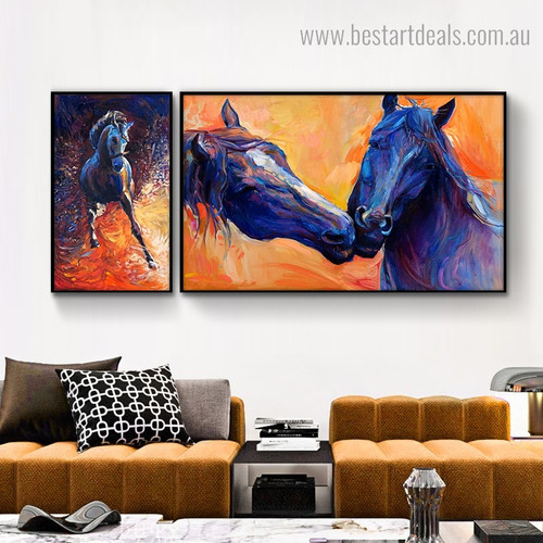 Cute Steed Abstract Animal Framed Painting Pic Canvas Print for Room Wall Getup