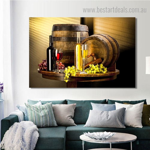 Red Wine Glass Modern Still Life Framed Painting Picture Canvas Print for Room Wall Drape