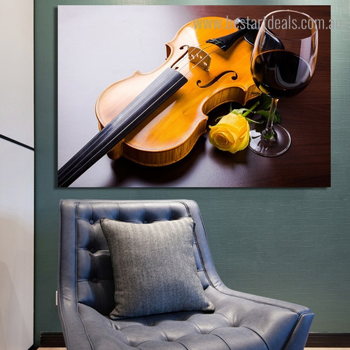 Violin Liqueur Modern Still Life Framed Artwork Image Canvas Print for Room Wall Decoration