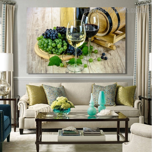 Grapes Wine Modern Still Life Framed Artwork Pic Canvas Print for Room Wall Ornament