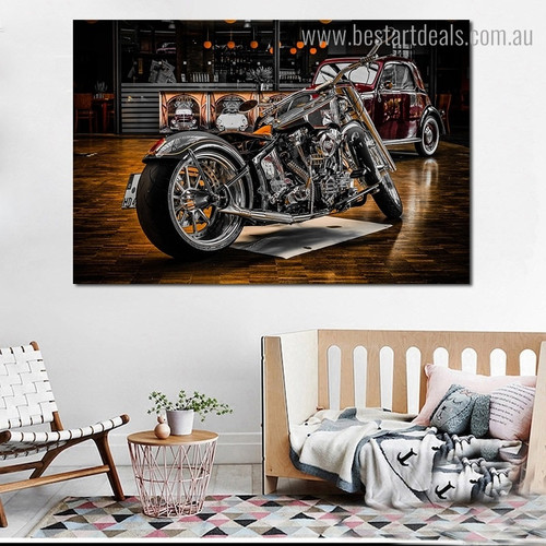 Chopper Motorcycle Modern Framed Artwork Portrait Canvas Print for Room Wall Getup