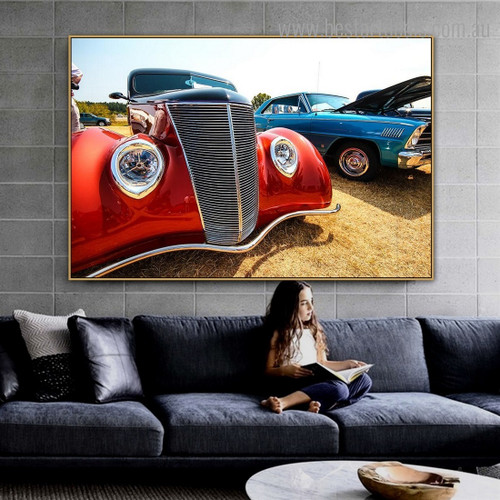 Colorful Antique Car Still Life Vintage Framed Painting Image Canvas Print for Room Wall Onlay