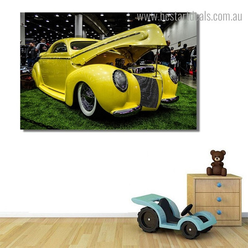 Yellow Antique Car Still Life Vintage Framed Artwork Pic Canvas Print for Room Wall Getup