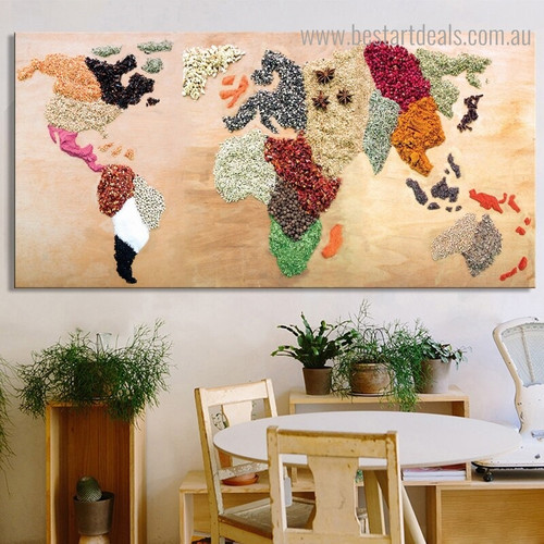 Food Ingredients Map Modern Framed Painting Picture Canvas Print for Dining Room Wall Outfit