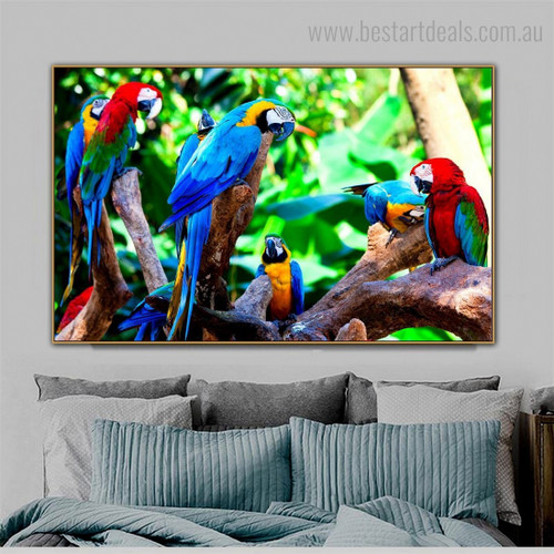 Macaws Group Bird Modern Framed Painting Picture Canvas Print for Room Wall Outfit