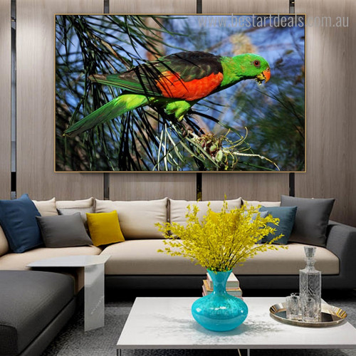 Lorikeet Bird Modern Framed Portraiture Image Canvas Print for Room Wall Disposition