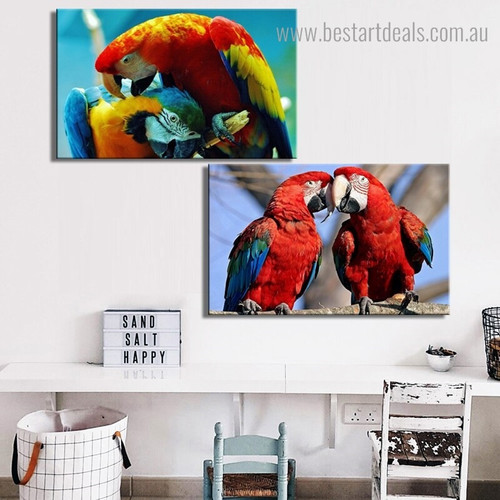 Dapple Parrots Group Bird Modern Framed Portrayal Photo Canvas Print for Room Wall Garnish