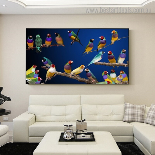 Colorful Gouldian Finch Bird Modern Framed Painting Photo Canvas Print for Room Wall Getup