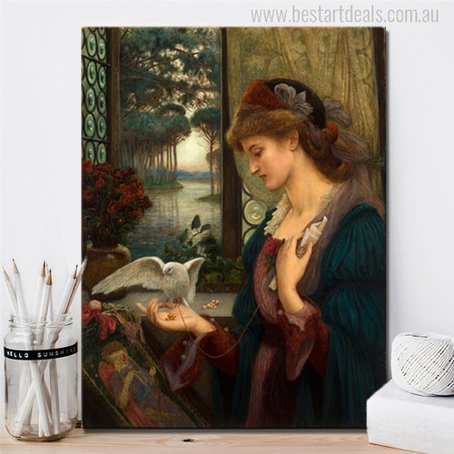 Love's Messenger Painting by Marie Spartali Stillman Print for Home Decor Art