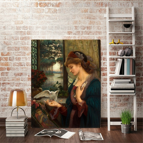 Love's Messenger Painting by Marie Spartali Stillman Print for Study Room Wall Decor