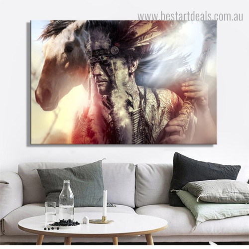 Indian Tradition Dress Abstract Figure Framed Painting Portrait Canvas Print for Room Wall Ornament