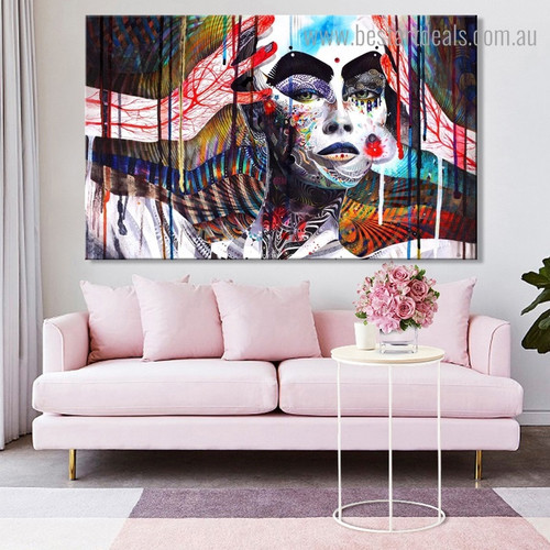 Colorful Witch Abstract Contemporary Framed Artwork Image Canvas Print for Room Wall Getup
