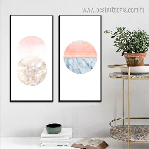Circular Marble Abstract Modern Framed Painting Photo Canvas Print for Room Wall Onlay