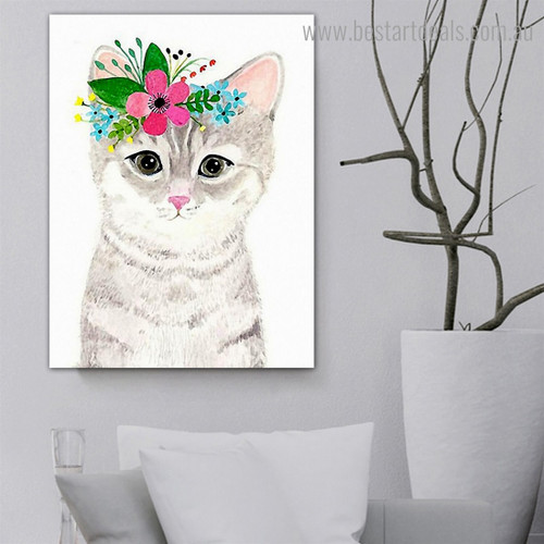 Cute Cat Abstract Animal Kids Modern Framed Painting Photo Canvas Print for Room Wall Ornament