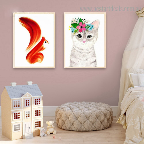 Squirrel Cat Abstract Animal Kids Modern Framed Artwork Pic Canvas Print for Room Wall Garnish