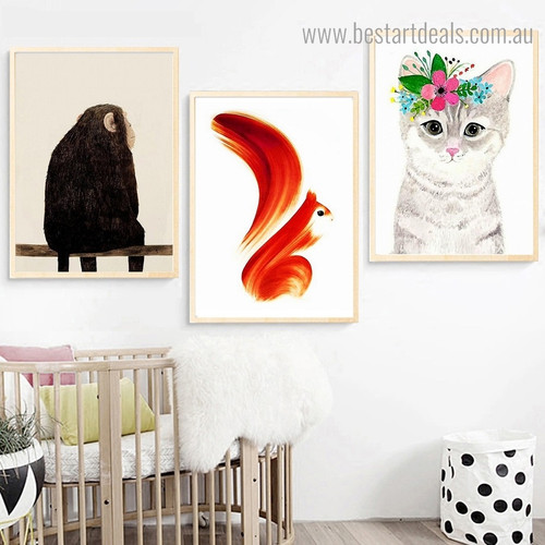 Monkey Squirrel pussy Abstract Animal Kids Contemporary Framed Artwork Image Canvas Print for Room Wall Getup