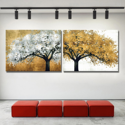 Golden and Silver Colour Tree's Abstract Oil Painting Print for Wall Art
